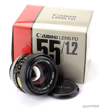 Canon: 55mm (5.5cm) f1.2 FD S.S.C camera