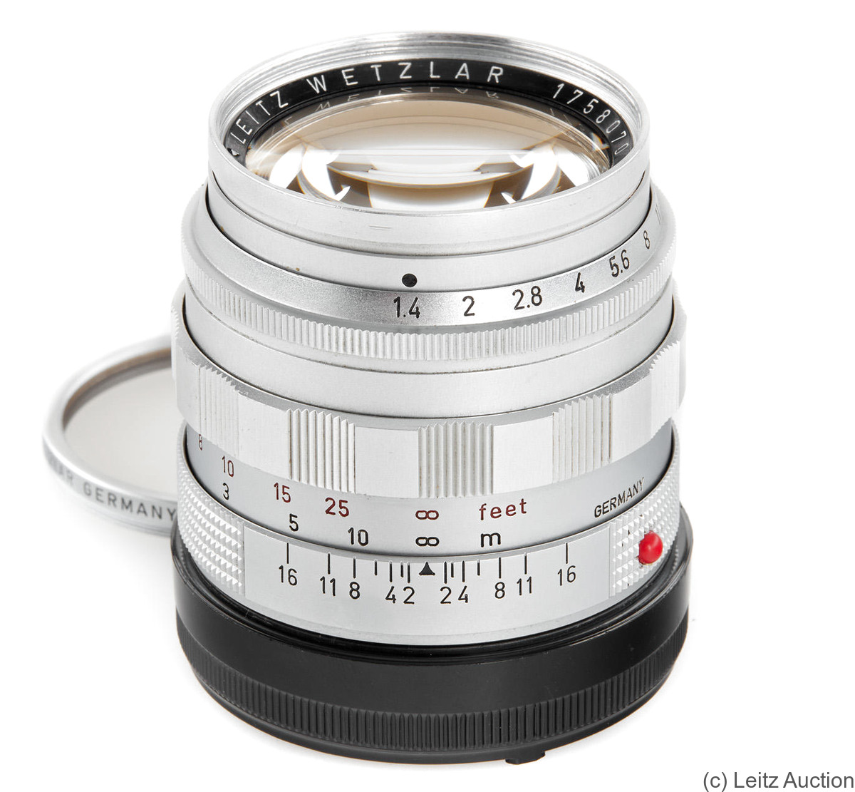 Leitz: 50mm (5cm) f1.4 Summilux (BM, chrome, 1958) camera