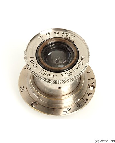 Leitz: 50mm (5cm) f3.5 Elmar (SM, nickel) camera