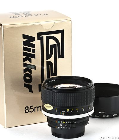 Nikon: 85mm (8.5cm) f1.4 Nikkor (AIS) camera