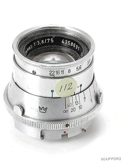 Schneider: 75mm (7.5cm) f3.8 Tele-Xenar 'Crown' (Robot Royal) camera